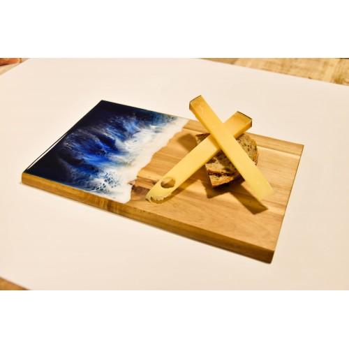 Sada 2 servírovacích prkýnek - akátové dřevo - epoxid 23×15×1cm
