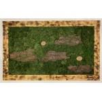 Mechový obraz 100*61,5*4 - sobí mech a kůra - dřevěný rám opálený