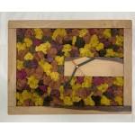 Mechové hodiny 46*36*3 - sobí mech - dřevěný rám přírodní