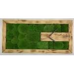 Mechové hodiny 57*27*3 - kopečkový mech - dřevěný rám opálený
