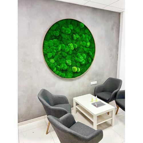Mechový obraz big v dřevěném kulatém rámu- volba velikosti 130-170cm