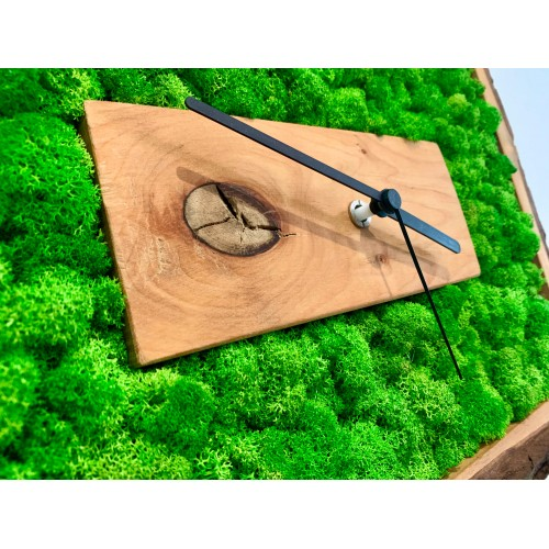 Mechové hodiny v dřevěném rámu z olše s kůrou 47x37cm