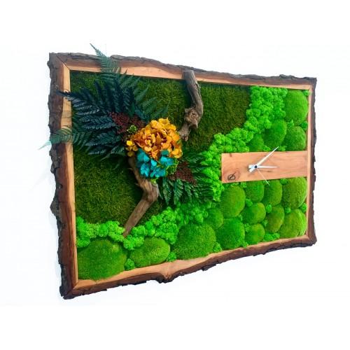Mechové hodiny v dřevěném rámu z olše 88x63cm
